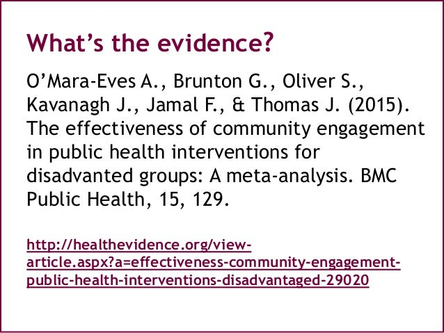 the effectiveness of public health interventions The effectiveness of interventions  evaluate the effectiveness of various approaches to increasing physical activity:  and other public health decision makers.