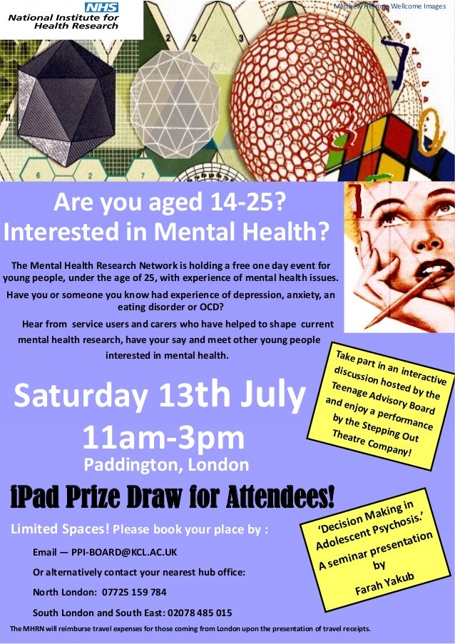 Are you aged 14-25?Interested in Mental Health?The Mental Health Research Network is holding a free one day event foryoung...