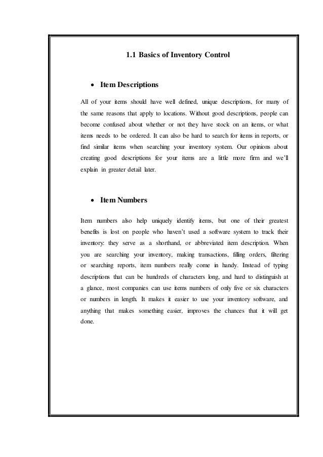 11 11 basics of inventory control item descriptions - Inventory Control Description