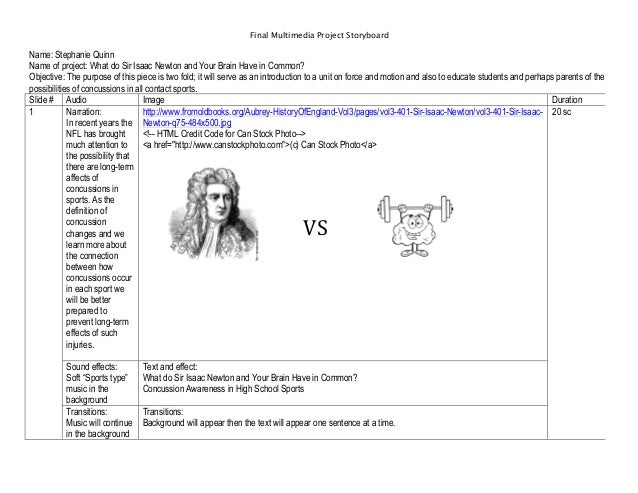 Final Multimedia Project Storyboard  Name: Stephanie Quinn Name of project: What do Sir Isaac Newton and Your Brain Have i...