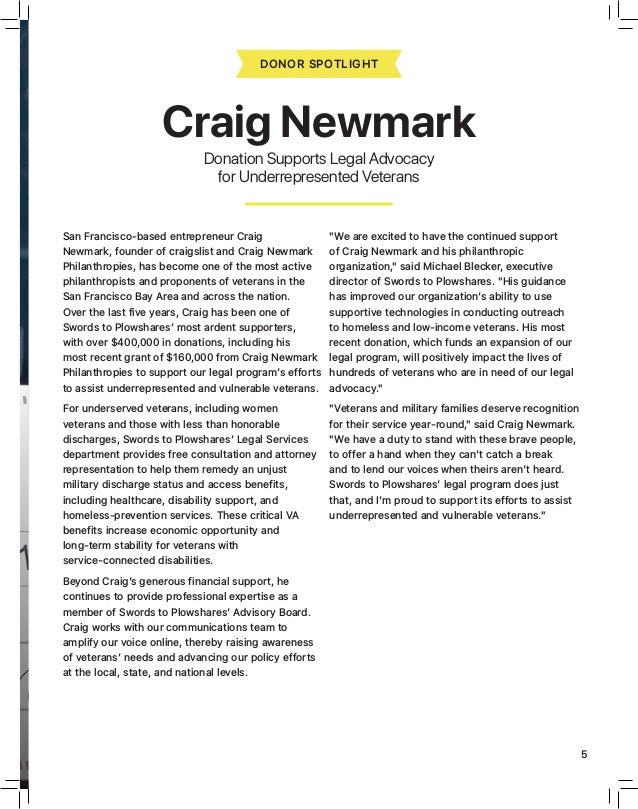 """FALL 2018 5 FALL 2018 """"We are excited to have the continued support of Craig Newmark and his philanthropic organization,"""" ..."""