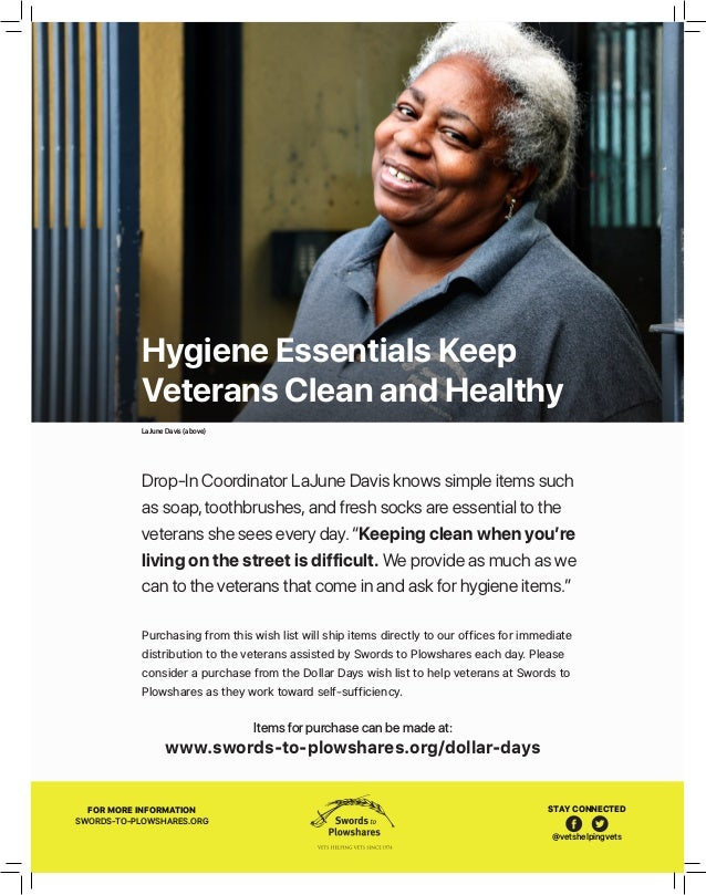 LaJune Davis (above) 9 Hygiene Essentials Keep Veterans Clean and Healthy Purchasing from this wish list will ship items d...