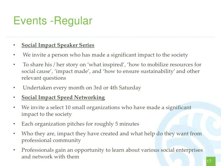 Events -Regular•   Social Impact Speaker Series•   We invite a person who has made a significant impact to the society•   ...