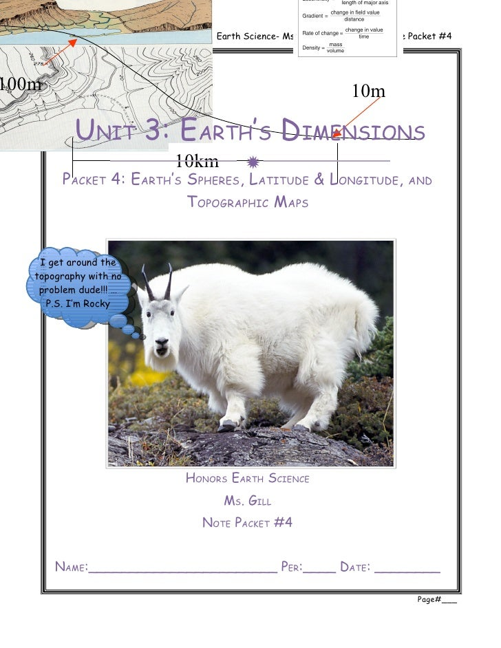 Unit 3: Earth's Dimensions        Earth Science- Ms. Gill     Note Packet #4100m                                          ...