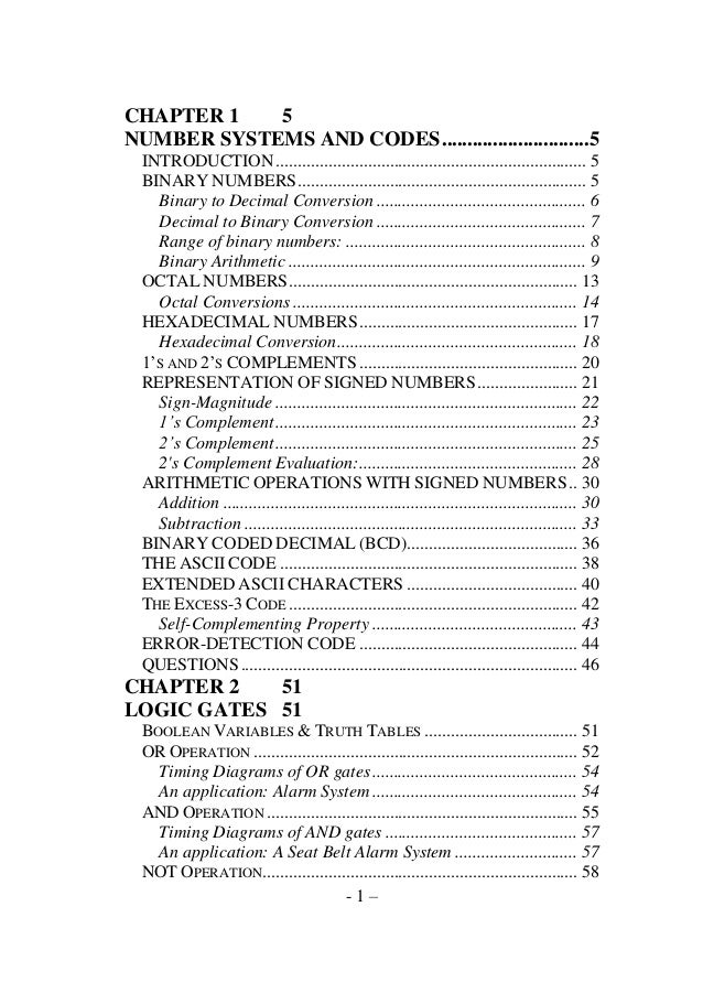 CHAPTER 1 5 NUMBER SYSTEMS AND CODES .............................5 INTRODUCTION ............................................