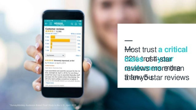 18 82% trust your customers more than you Most trust a critical mass of 4-star reviews more than a few 5-star reviews