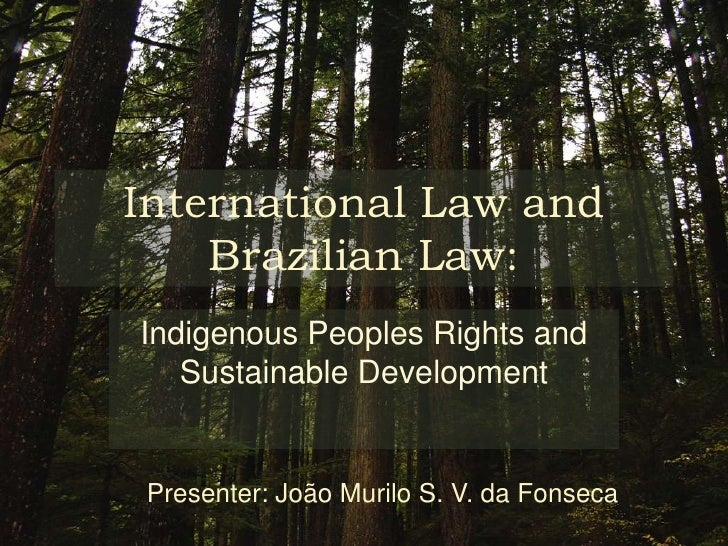 International Law and Brazilian Law:<br />Indigenous Peoples Rights and Sustainable Development<br />Presenter: João Muril...