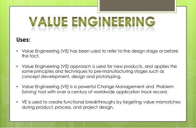 Value analysis value engineering business process for Value engineered