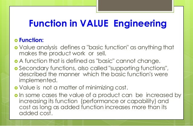 Value Analysis Value Engineering Business Process