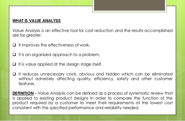 Value Analysis Value Engineering & Business Process Reengineering