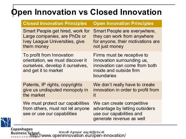 open and closed innovation Open innovation may primarily be defined as the process through which both the external and the internal ideas within the corporation are combined together with their success paths in advancing the probable development of new technologies in the organization (chesbrough, 2003).
