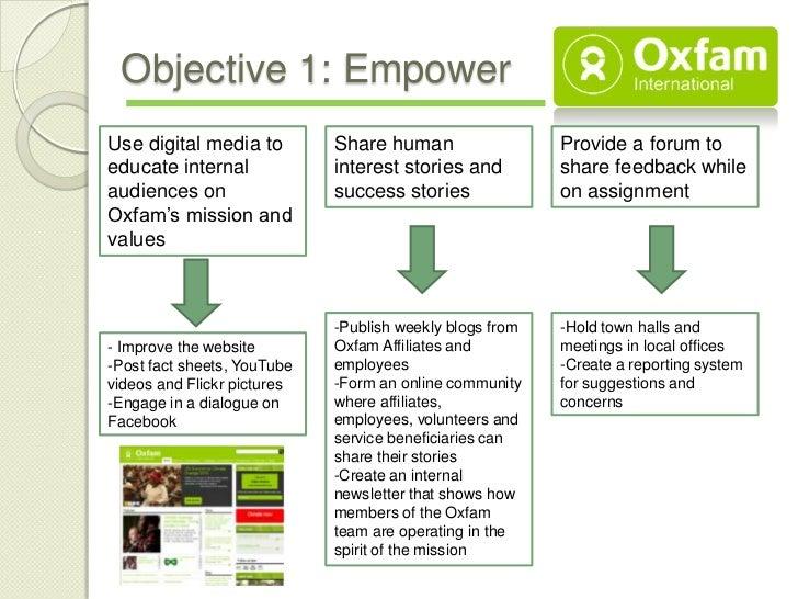 Objective 1: EmpowerUse digital media to         Share human                  Provide a forum toeducate internal          ...