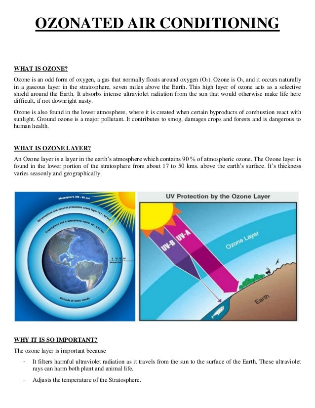 OZONATED AIR CONDITIONING WHAT IS OZONE? Ozone is an odd form of oxygen, a gas that normally floats around oxygen (O2). Oz...