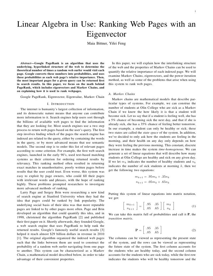 1Linear Algebra in Use: Ranking Web Pages with an                   Eigenvector                                           ...