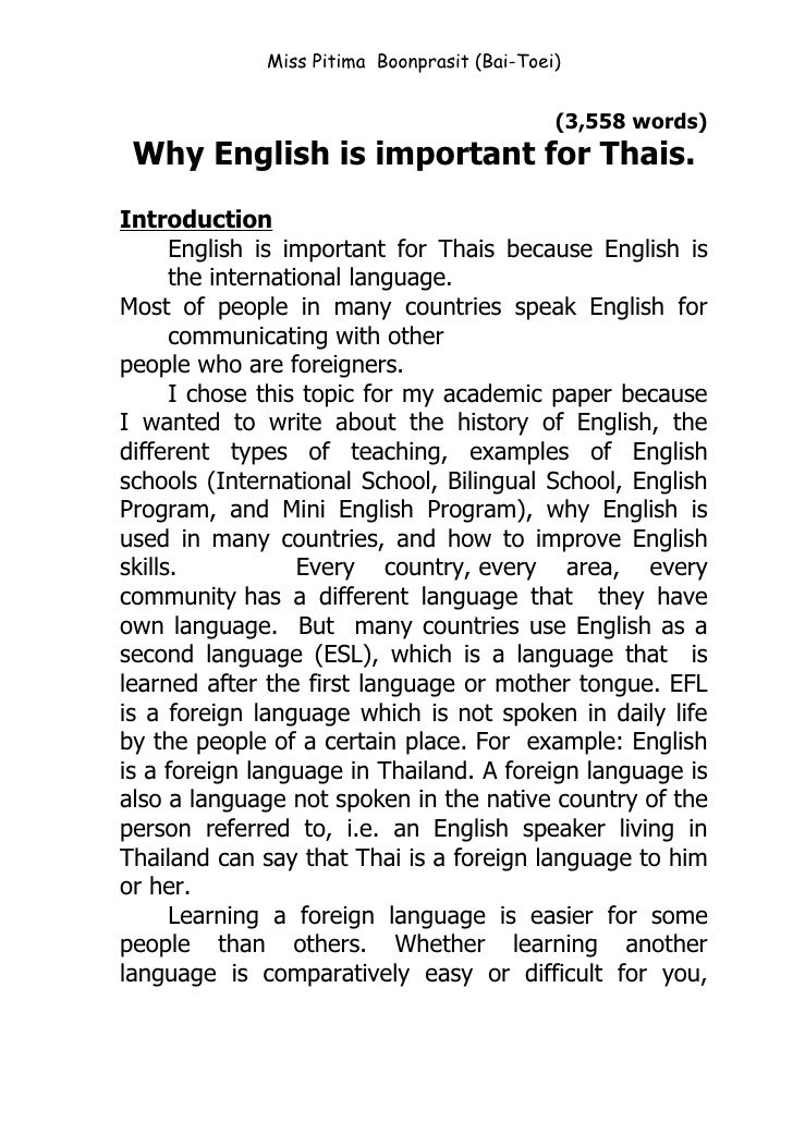 The Importance Of English Essay  Topics English Essay also Narrative Essays Examples For High School Why English Is Important For Thais Health Essays