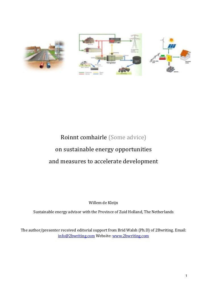 Roinnt comhairle (Some advice) <br />on sustainable energy opportunities<br />and measures to accelerate development<br />...