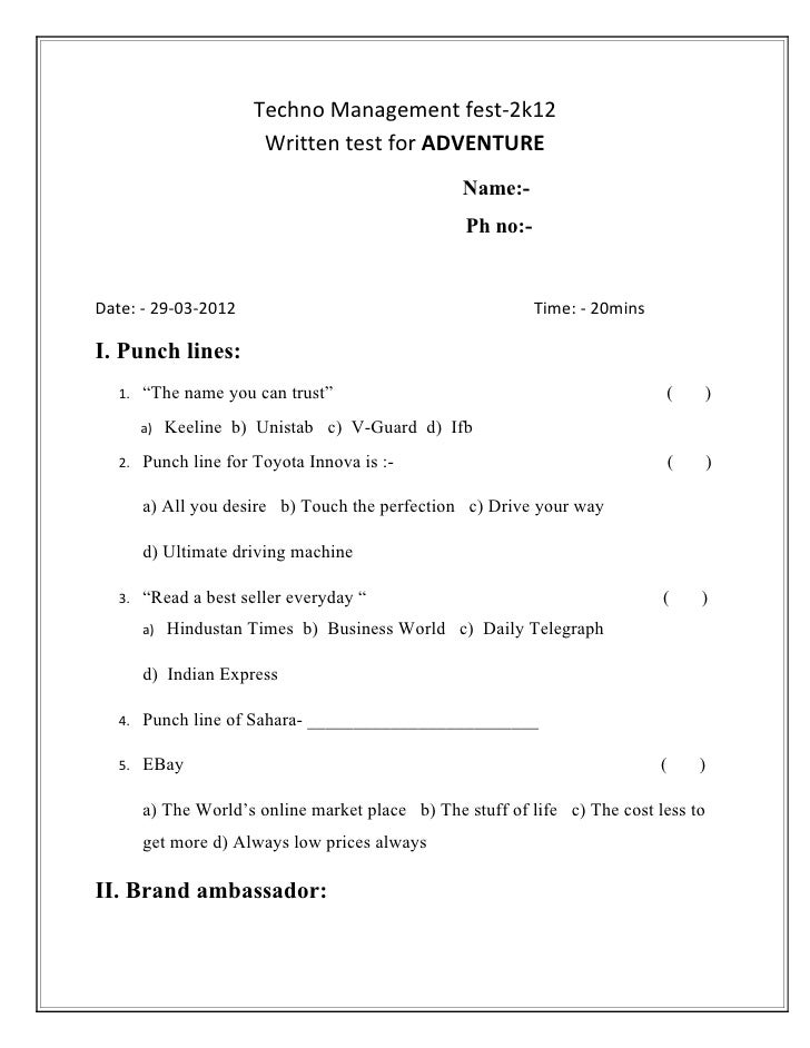 Techno Management fest-2k12                        Written test for ADVENTURE                                             ...