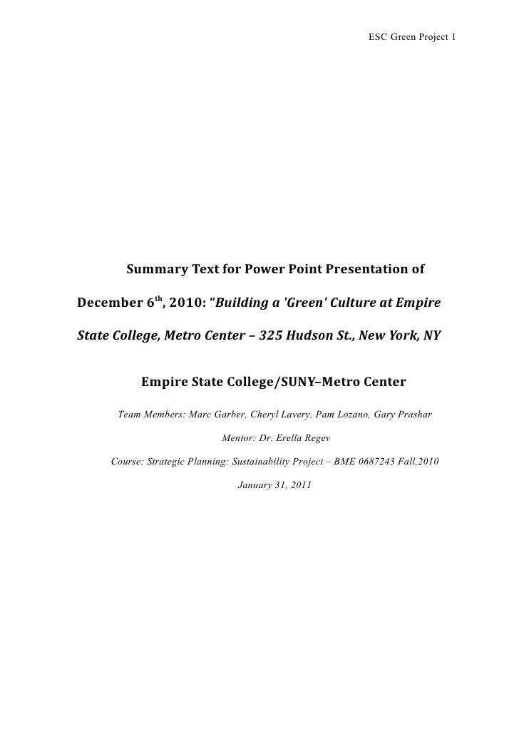 """ESC Green Project 1        Summary Text for Power Point Presentation ofDecember 6th, 2010: """"Building a Green Culture at Em..."""