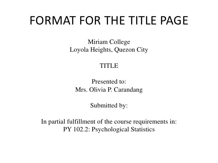 title page of a research paper
