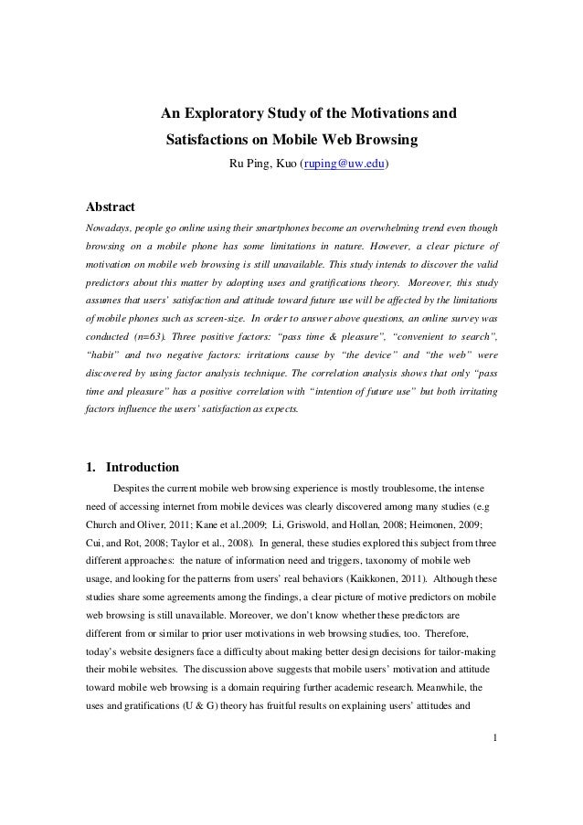An Exploratory Study of the Motivations and                   Satisfactions on Mobile Web Browsing                        ...