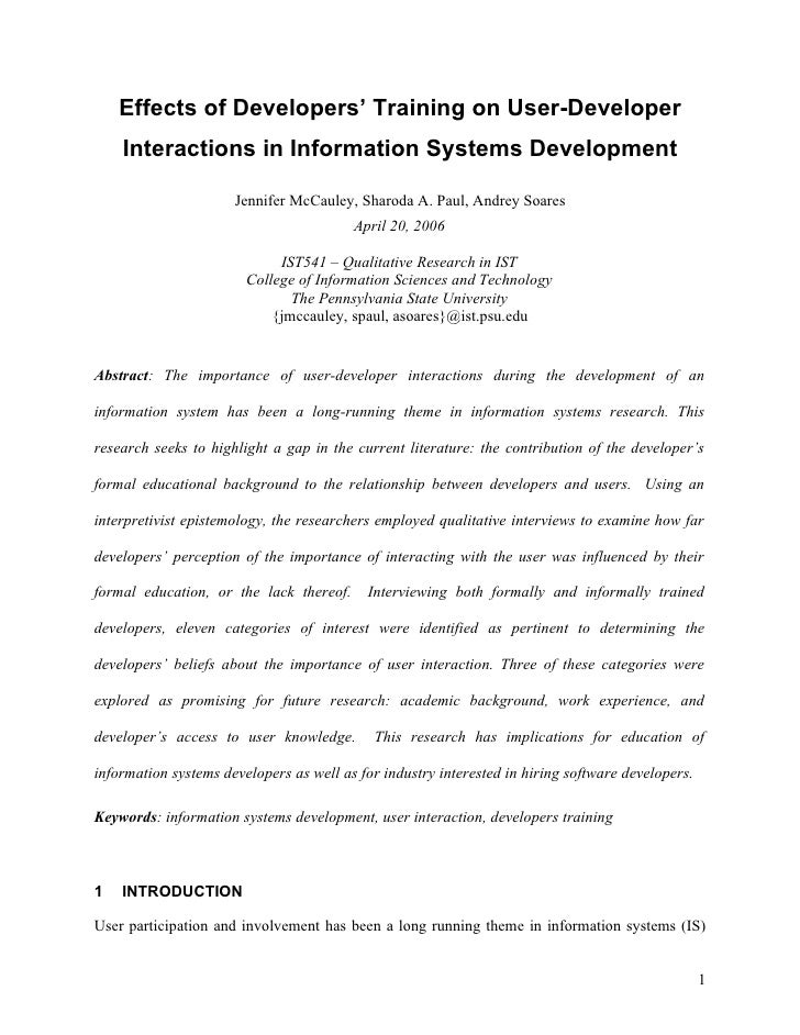 Effects of Developers' Training on User-Developer     Interactions in Information Systems Development                     ...
