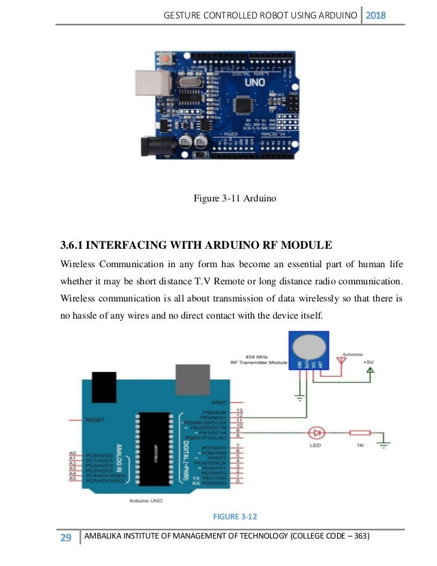 Project Report on Hand gesture controlled robot part 2