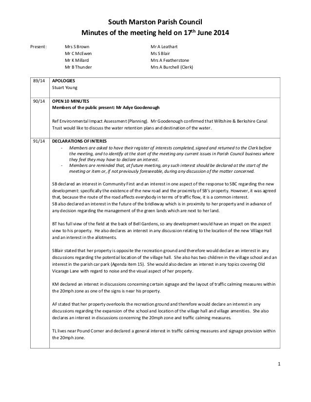1 South Marston Parish Council Minutes of the meeting held on 17th June 2014 Present: Mrs S Brown Mr A Leathart Mr C McEwe...