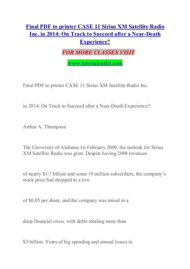 Final Pdf To Printer Case 11 Sirius Xm Satellite Radio Inc Experienc