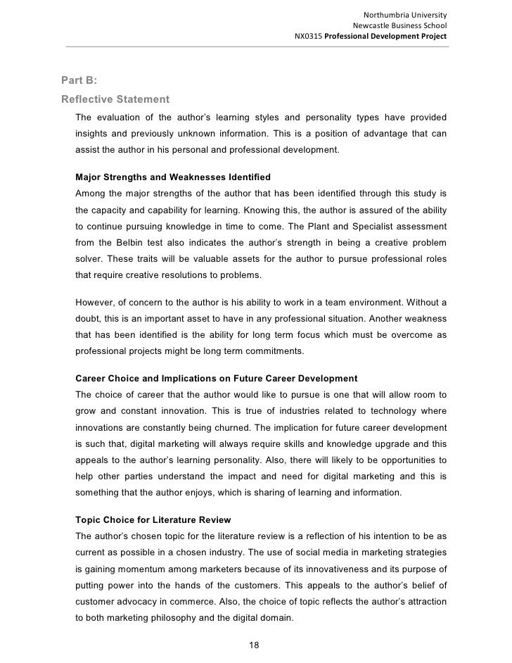 reflective statement oin personal development How to write a reflective statement writing effective reflective statements will take time following this format can assist you to organize your thoughts and.