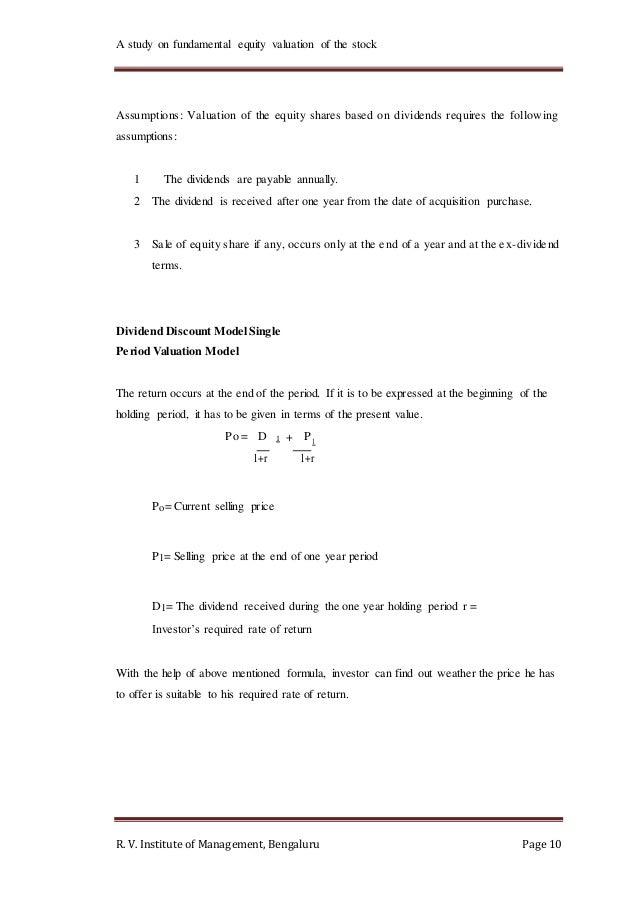Single period valuation method