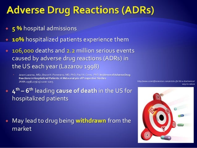  5 % hospital admissions  10% hospitalized patients experience them  106,000 deaths and 2.2 million serious events caus...