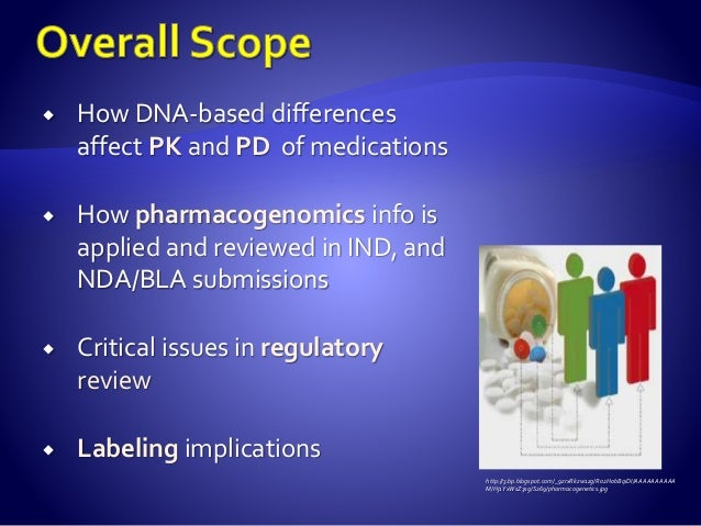 How DNA-based differences affect PK and PD of medications  How pharmacogenomics info is applied and reviewed in IND, an...