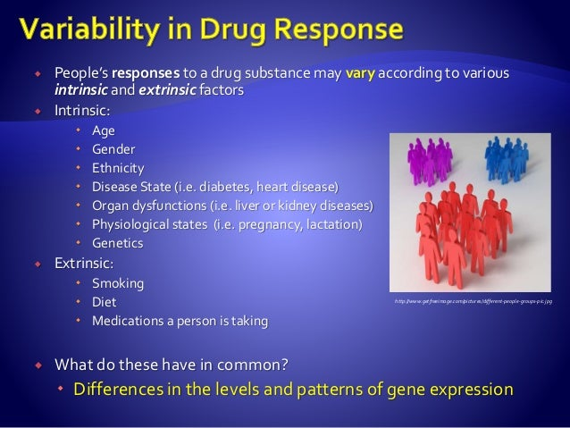 People's responses to a drug substance may vary according to various intrinsic and extrinsic factors  Intrinsic:  Age ...