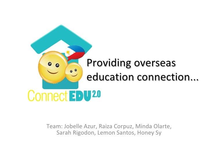 Team: Jobelle Azur, Raiza Corpuz, Minda Olarte, Sarah Rigodon, Lemon Santos, Honey Sy Providing overseas education connect...