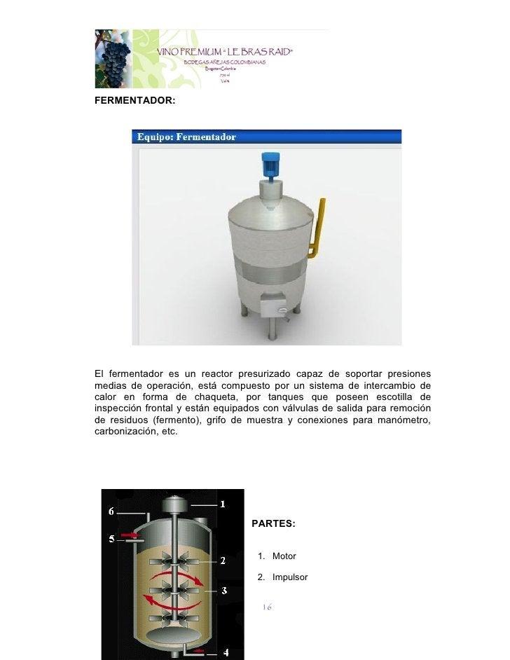 FERMENTADOR:El fermentador es un reactor presurizado capaz de soportar presionesmedias de operación, está compuesto por un...