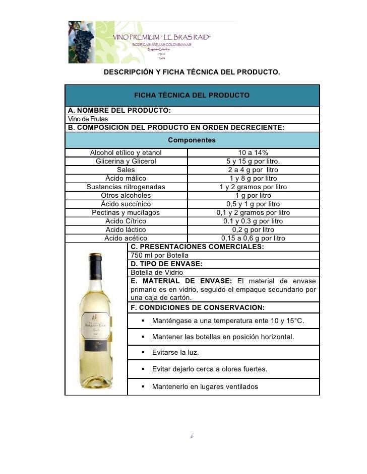 DESCRIPCIÓN Y FICHA TÉCNICA DEL PRODUCTO.                  FICHA TÉCNICA DEL PRODUCTOA. NOMBRE DEL PRODUCTO:Vino de Frutas...