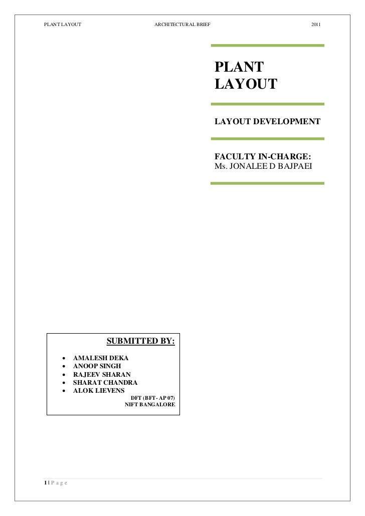 PLANT LAYOUT                     ARCHITECTURAL BRIEF                       2011                                           ...