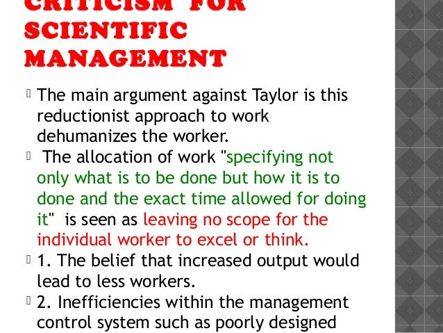 taylors scientific management principles essay Before starting to illustrate the principles of scientific management and inducing the men to work in accordance with these scientific principles and the writer have presented papers to the american society of mechanical engineers on the subject of scientific management in these papers.