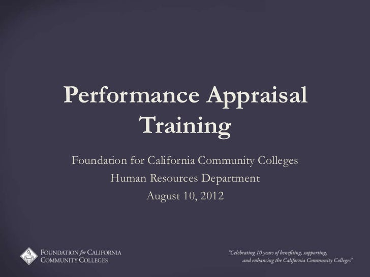 Performance Appraisal      TrainingFoundation for California Community Colleges       Human Resources Department          ...