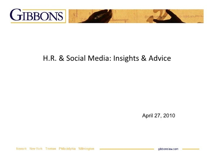 H.R. & Social Media: Insights & Advice April 27, 2010