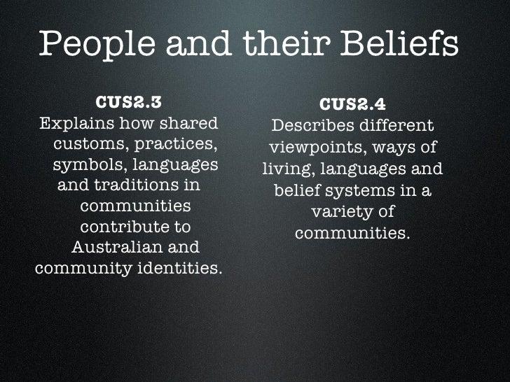 People and their Beliefs <ul><li>CUS2.3 </li></ul><ul><li>Explains how shared customs, practices, symbols, languages </li>...