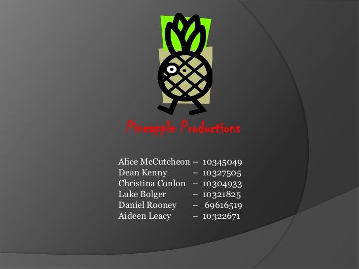 Pineapple ProductionsAlice McCutcheon –   10345049Dean Kenny       –   10327505Christina Conlon –   10304933Luke Bolger   ...