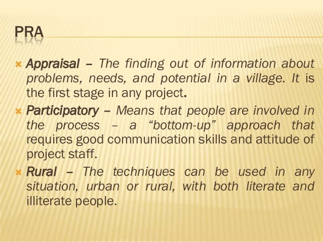 Rapid rural appraisal and participatory rural appraisal.