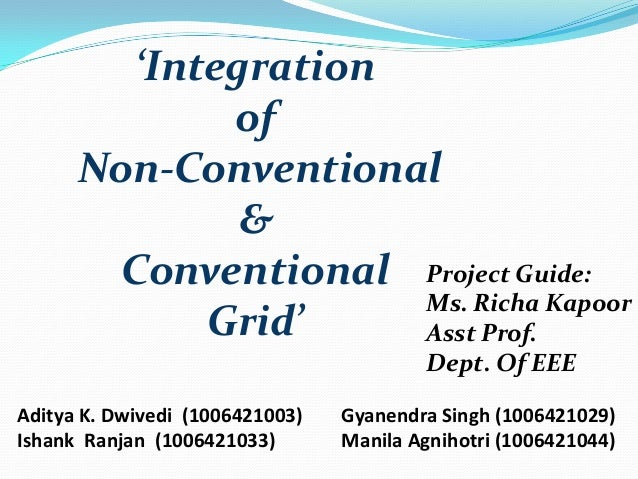 'Integration of Non-Conventional & Conventional Project Guide: Ms. Richa Kapoor Grid' Asst Prof. Dept. Of EEE Aditya K. Dw...