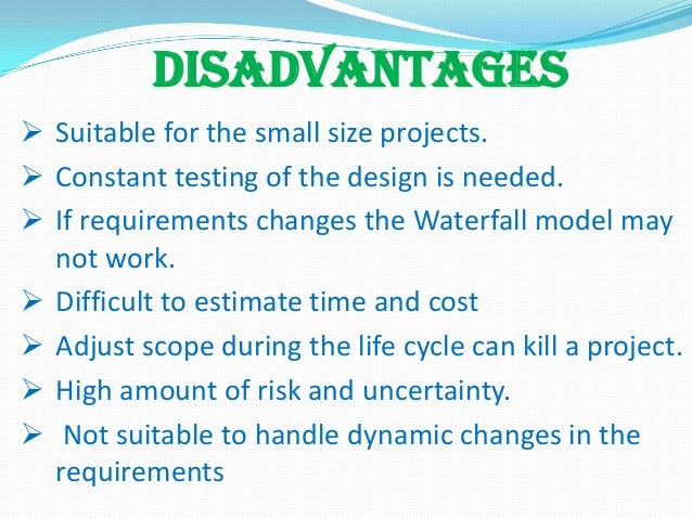 Waterfall model for Waterfall methodology advantages and disadvantages