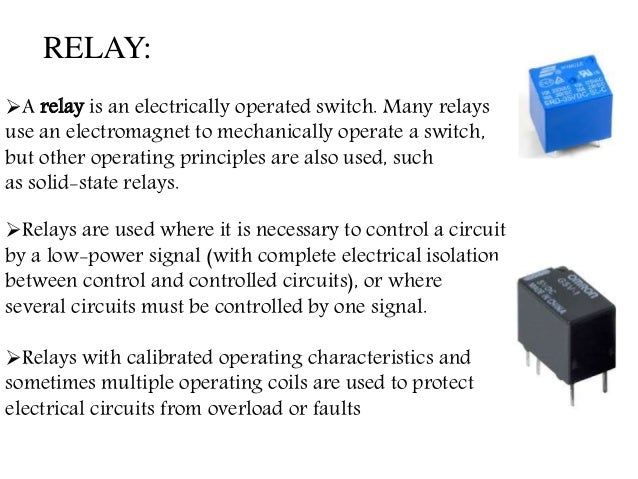 A relay is an electrically operated switch. Many relays use an electromagnet to mechanically operate a switch, but other ...
