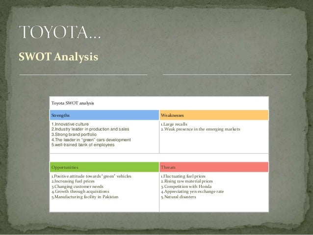 an analysis of toyota This is the swot analysis of toyota prius toyota prius is a hybrid car which is fully electric manufactured and sold by toyota prius was launched for the first time in 1997 in japan and currently, the model is sold in more than 90 countries the model is popular in the us which is one of its biggest markets.