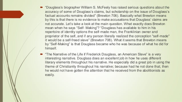 a literary analysis of the narrative of the life of fredrick douglass Major themes in frederick douglass's narrative of the life of frederick douglass learn and understand all of the themes found in narrative of the life of frederick.