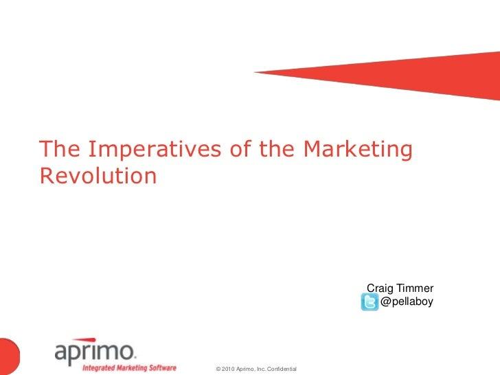 The Imperatives of the Marketing Revolution<br />Craig Timmer<br />         @pellaboy<br />