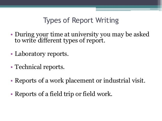 Report writing and presentation.